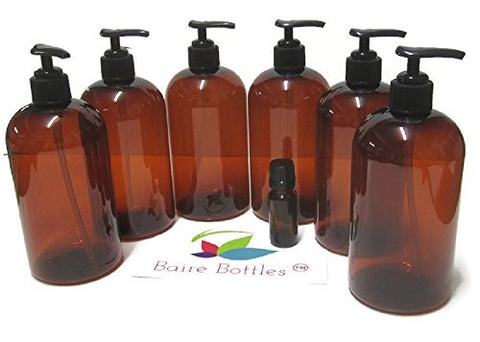 AMBER PLASTIC PUMP BOTTLES - 16 OZ REFILLABLE with Black Pumps - PET, Lightweight, Leakproof, BPA Free - 6 Pack, BONUS 10 ml Glass Euro Dropper Bottle