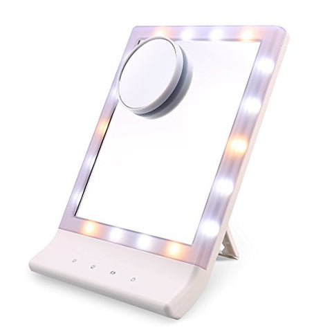 Ovonni LED Lighted Makeup Mirror, Desktop Wall Mount Touch Screen Vanity Mirror with 10X Magnifying Spot, Multiple Illumination Settings Cosmetic Mirror with Lights