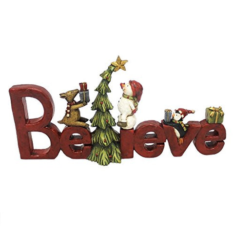 Believe Tree Friendship 5 x 13 inch Resin Stone Christmas Table Top Decoration