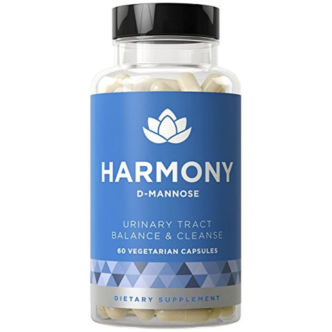 HARMONY D-Mannose - Urinary Tract Infection & Bladder Treatment to Fight UTIs - 60 Vegetarian Soft Capsules
