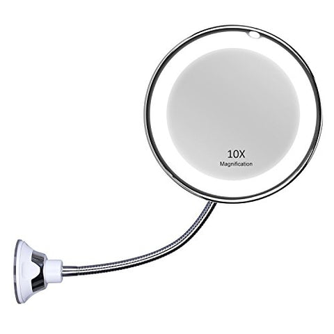 KEDSUM Flexible Gooseneck 6.8  10x Magnifying LED Lighted Makeup Mirror,Bathroom Vanity Mirror with Strong Suction Cup, 360 Degree Swivel,Daylight,Battery Operated,Cordless & Compact Travel Mirror