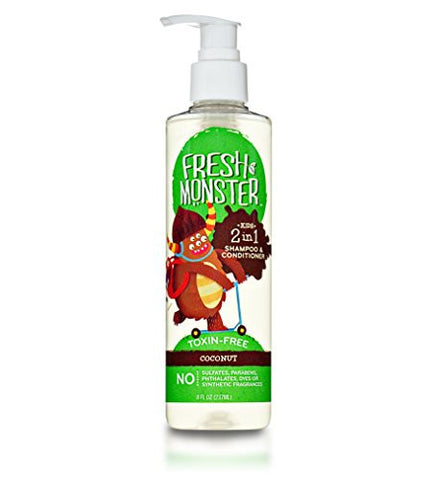 Fresh Monster 2-in-1 Kids Shampoo & Conditioner, Coconut (8oz) - Toxin-Free - Sulfate-Free - Paraben-Free - Natural Botanical Extracts - Hypoallergenic - Natural Kid Shampoo