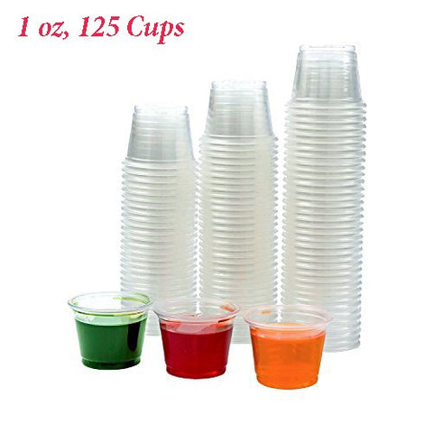 Adorox ( 1 oz, 125 Cups) Clear Plastic Portion Cups with Lids Condiment Dips, Sauce, Jello Shots, Souffle, Disposable