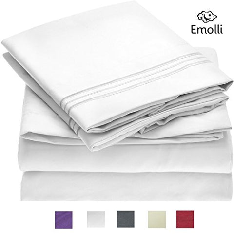 Emolli Bed Sheet Set,Supreme Collection 1800 Double Brushed Microfiber Luxury Bed Sheets Set With Anti-wrinkle, Anti-fade, Stain Resistant, Hypoallergenic, 4 Pieces - White (Full Size)