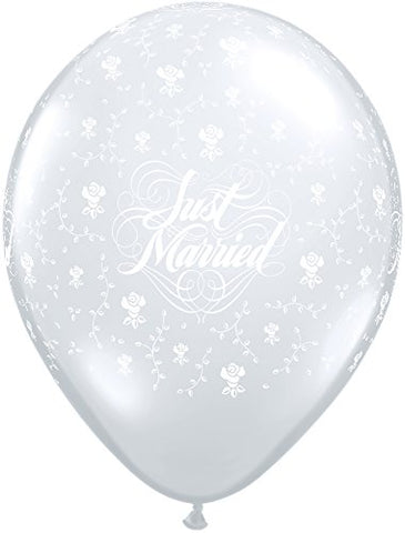 LA Balloons 37087  Just Married Flowers-A-Round  Qualatex Latex Balloons , 11 , Diamond Clear