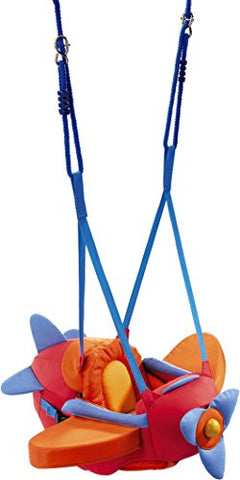 HABA Airplane Baby Bouncer, Jumper, Swing - Indoor Mounted, Adjustable Polyester Baby Swing With Spinning Propeller
