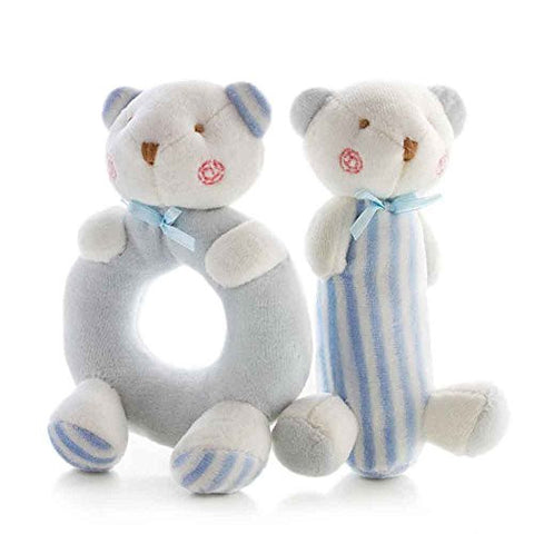 SHILOH Baby Soft Rattle Plush Toy 2 count Blue Bear 5.6in4in