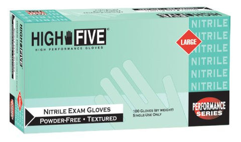 High Five Nitrile Exam Gloves, Large
