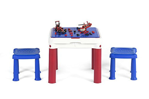 Keter ConstrucTable Kids Activity and Play Table with 2 Chairs, Duplo & Lego Compatible