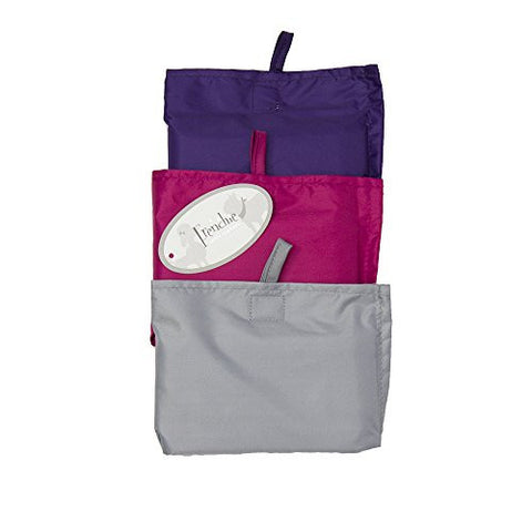 Adult Waterproof Coverall Bib with Carrying Case, 3-pk: Purple, Raspberry, Light Grey