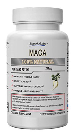 #1 Maca by Superior Labs - 100% Pure, 750mg, 120 Vegetable Capsules - Made In USA, 100% Money Back Guarantee