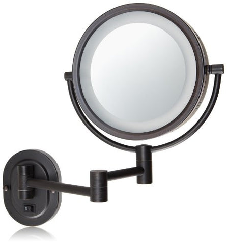 Jerdon HL65BZD 8-Inch Lighted Direct Wire Wall Mount Makeup Mirror with 5x Magnification, Bronze Finish