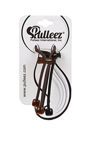 Pulleez Sliding Ponytail Holders Double Pack Acrylic Charms (Brown & Black)