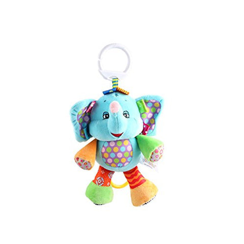X-star Cute Animal Shape Design Bell Rings Toys Multifunctional Solf Baby Rattle Toys (blue elephant)
