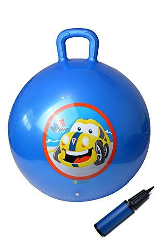 GreEco Space Hopper Ball Including Free Pump, Kangaroo Bouncer, Hippity Hop, Bouncing Toy, Diameter 45cm/18 Inch for Ages 3-6, Blue