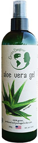ALOE VERA Gel 12oz - 99.75% Pure and ORGANIC For Face and Hair, From Earth's Daughter. Best Skin Care for Irritated, Dry or Sunburned Skin, Acne, Psoriasis, Eczema, Razor Burn, Bug Bites, Etc.