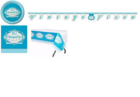 Creative Converting Vintage Vixen Birthday Party Supplies Pack Including Plates, Napkins, Table Cover & Jointed Banner (50 Years Blue)