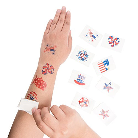 1.5 Patriotic American Flag Colorful Theme Washable Temporary Tattoos for Children & Adults, Face Art, Mini Stick Peel On & Off (144 Pieces) by Super Z Outlet