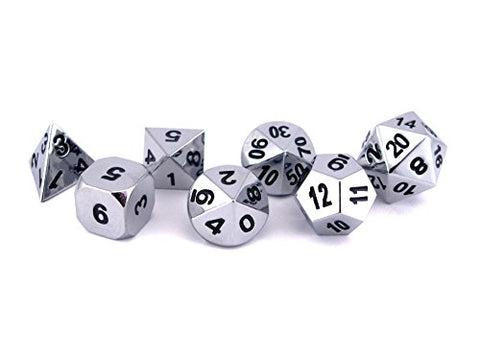 Solid Metal Chrome Silver 7pc Polyhedral Dice Set - RPG D20 D&D Pathfinder