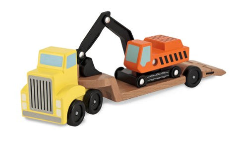 Melissa & Doug Trailer and Excavator Wooden Vehicle Set (3 pcs)