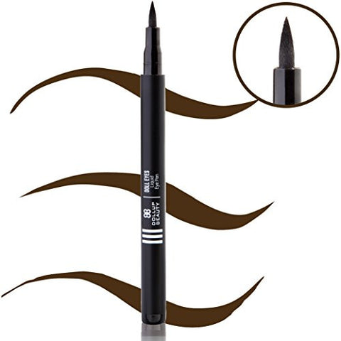 'Doll Eyes' Brown Liquid Eyeliner Pen - For Winged Liner, Vamp Stamps & Cat Eyes. 100% Smudge-Proof W/ Skinny Applicator - Best Eyeliner For BEGINNERS - Stays All Day. Dark Brown