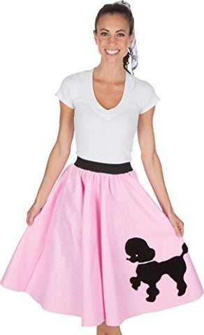 Adult Poodle Skirt with Musical Note printed Scarf Light Pink
