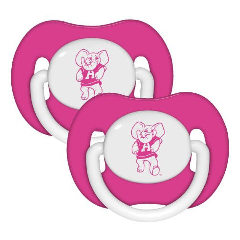 Alabama Crimson Tide Pink Infant Pacifier Set - NCAA Baby Bama Girl Pacifiers
