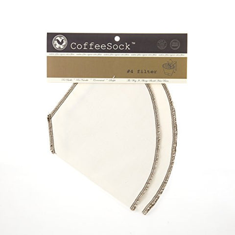 CoffeeSock Drip #4 Cone - GOTS Certified Organic Cotton Reusable Coffee Filters