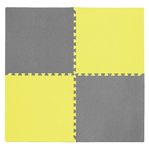 Tadpoles 4 Piece Squares Playmat Set, Yellow/Gray, 24