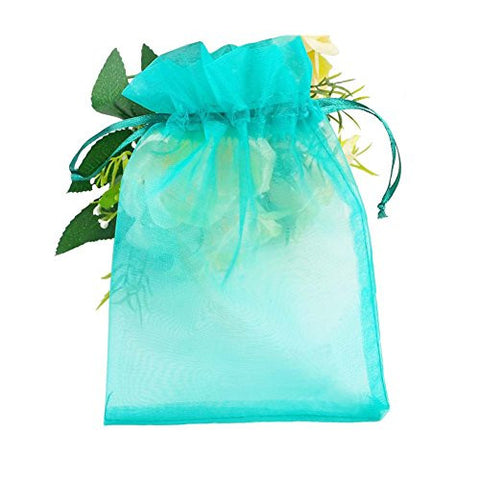 SumDirect 100Pcs 5.51x7.48 Sheer Drawstring Organza Jewelry Pouches Wedding Party Christmas Favor Gift Bags (Turquoise)
