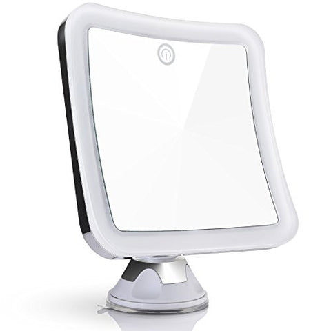 Sanheshun 10X Magnifying Lighted Travel Makeup Mirror, Touch Activated, Locking Suction Mount, Battery Operated, Square