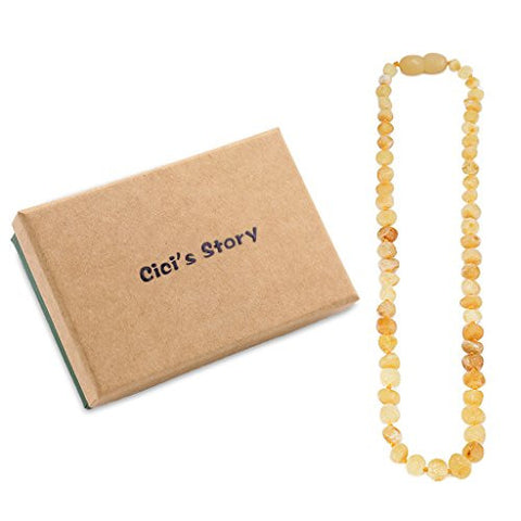 Raw Baltic Amber Teething Necklace for Baby (Unisex)(Butterscotch Raw)(14 Inches) - Baby Gift Sets - Natural Anti Inflammatory Beads.Teething Pain Reduce Properties