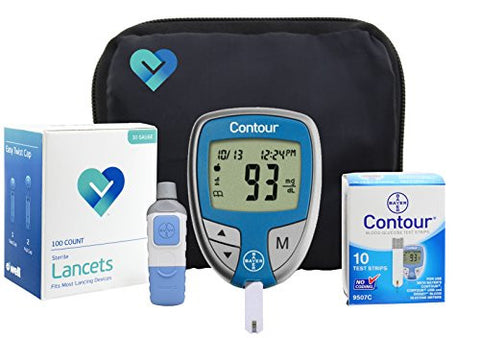 OWell Bayer Contour Diabetes Blood Glucose Testing Kit, METER, 10 Test Strips, 10 Lancets, Lancing Device, Manual, Log Book & Carry Case