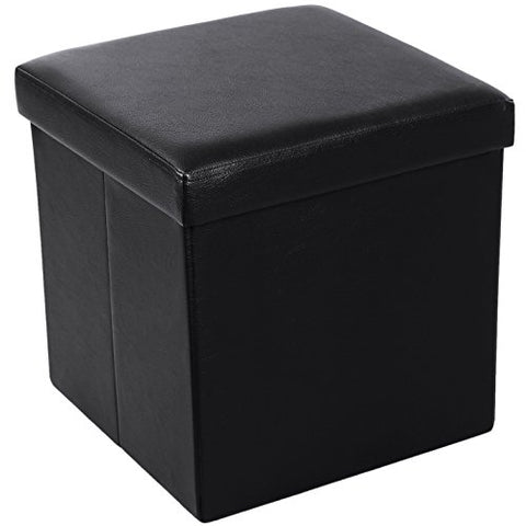 SONGMICS Faux Leather Folding Storage Ottoman Cube Foot Rest Stool Seat 15 x 15 x 15  Black ULSF101