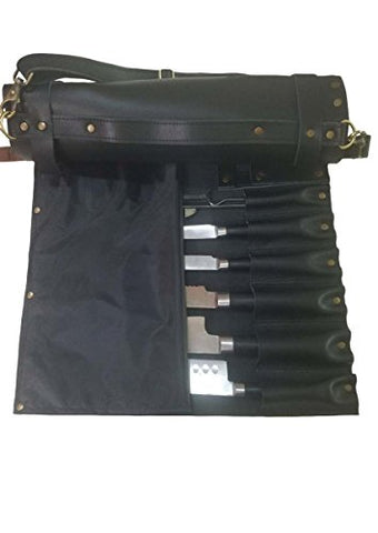 Lightweight Genuine Premium Black Leather 8 Pockets Chef Knife Bag/Chef Knife Roll