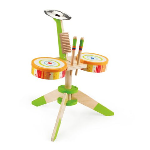 Hape Rock and Rhythm Kid's Musical Instruments Wooden Drum Set