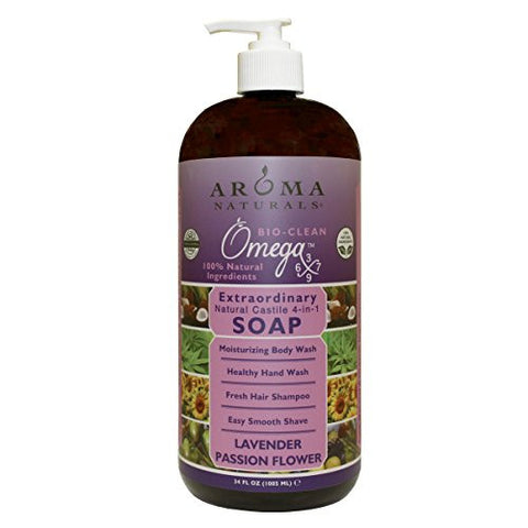 Aroma Naturals Natural Castile 4-in-1 Soap, Lavender Passion Flower, 34 Ounce