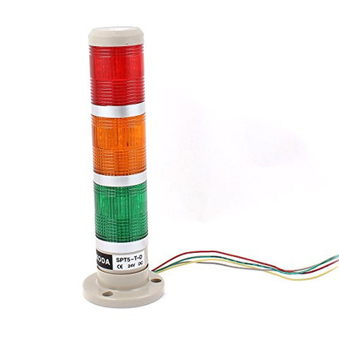 uxcell® DC 24V 3 Bulbs Red Green Yellow Lamp Industrial Signal Tower Light