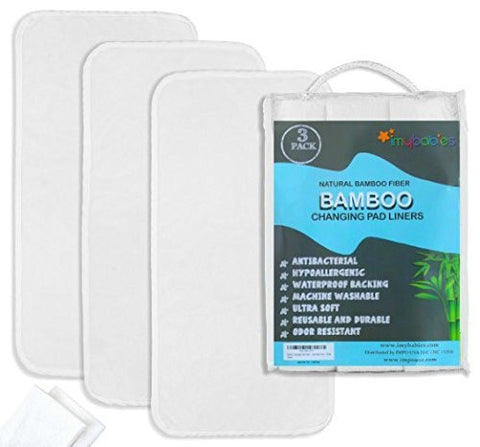Bamboo Changing Pad Liners 3 + Washcloths 2, Ultra soft, Highly Absorbent, Waterproof, Machine Wash and Dry Reusable Liner, Baby Travel Pad Mat cover white Liner -