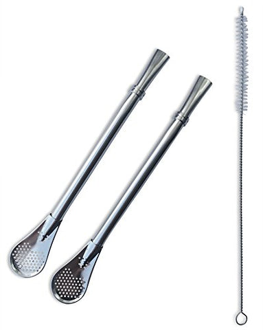 Mate Tea Cocktail Bombilla Metal Straws Dependable Stainless Steel Made to Filter Sediment Drink Straw For Gourd Yerba Loose Leaf Tea Mojitos Infused Drinks Stir Spoon Clean Brush Multi Piece set (3)