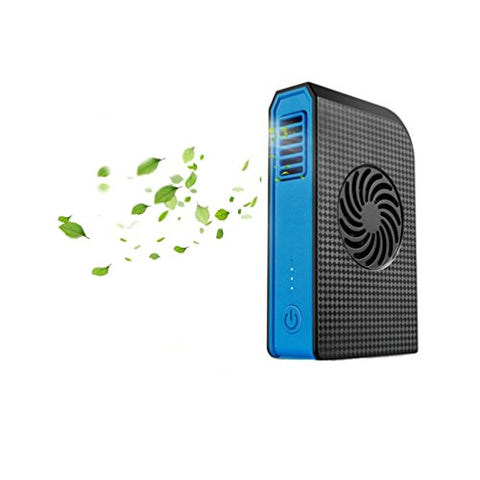 Mclife 2 in 1 USB Charging Power Bank with Fan, Portable Personal Mini Fan 6000mAh Power Bank for iphone Android Charge, Handhold for Home and Outdoor Using (Black Blue)