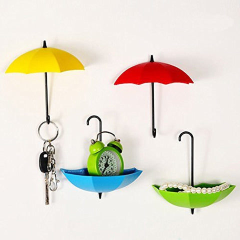 Bescar Colorful Umbrella Key Holder, Key Hanger,Wall Key Rack,Wall Key Holder,Key Organizer For Keys, Jewelry And Other Small Items (6PCS)