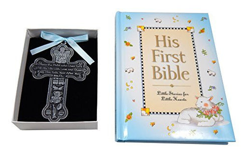 Baby Boy First Bible and 4 Pewter Baptism Guardian Angel Crib Cross