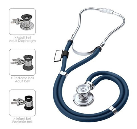 MDF Sprague Rappaport Dual Head Stethoscope with Adult, Pediatric, and Infant convertible chestpiece - Navy Blue (MDF767-04)