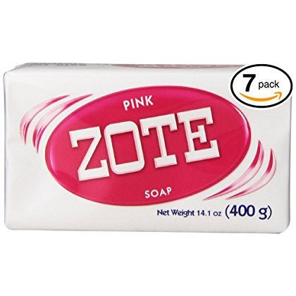 (BARS) Zote Pink Laundry Bar Soap, with Even MORE Pinkning Power & Satin Remover. Light Fresh Scent! Safe for delicate clothes! (7 Bars, 14.1oz Each Bar)