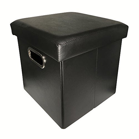 ZHICHEN Ottoman Storage, Cube Basket Bins, Foot Rest Seat, Folding Leather Organizer or Coffee Table, Clutter Toys Collection, with Hand Buckle Quick Assembly Easy Carry (Black)
