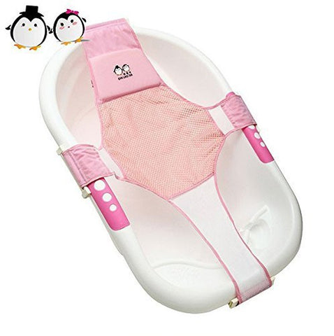 StillCool Infant Baby Bath Sling Shower Mesh Bathing Cradle Rings for Tub (Pink)