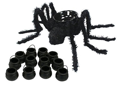 Maven Gifts: 43.3 Inch Candy Spider Bowl with 1 Dozen Mini Candy Novelty Kettles