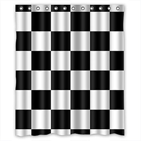 Custom Black White Checkered Pattern Shower Curtain Waterproof Polyester Bathroom 60 x 72 inch