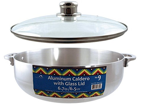Euro-Ware Stove Top Heavy Gauge Aluminum Caldero with Removable Glass Lid and Built in Steam Vent, 6.7 quart, Silver